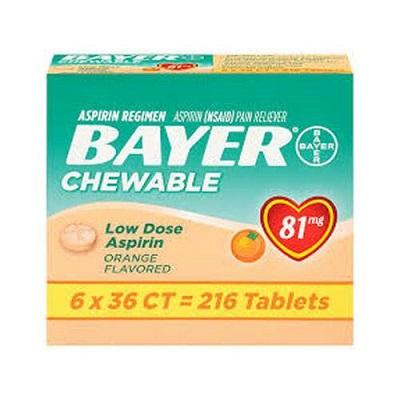 Bayer Chewable Low Dose Aspirin 81mg - 216 Tablets at manmohni